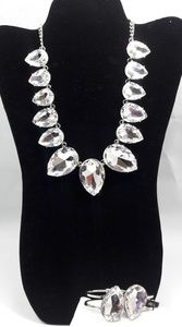 Silver Crystal Stone Necklace and Bracelet Set